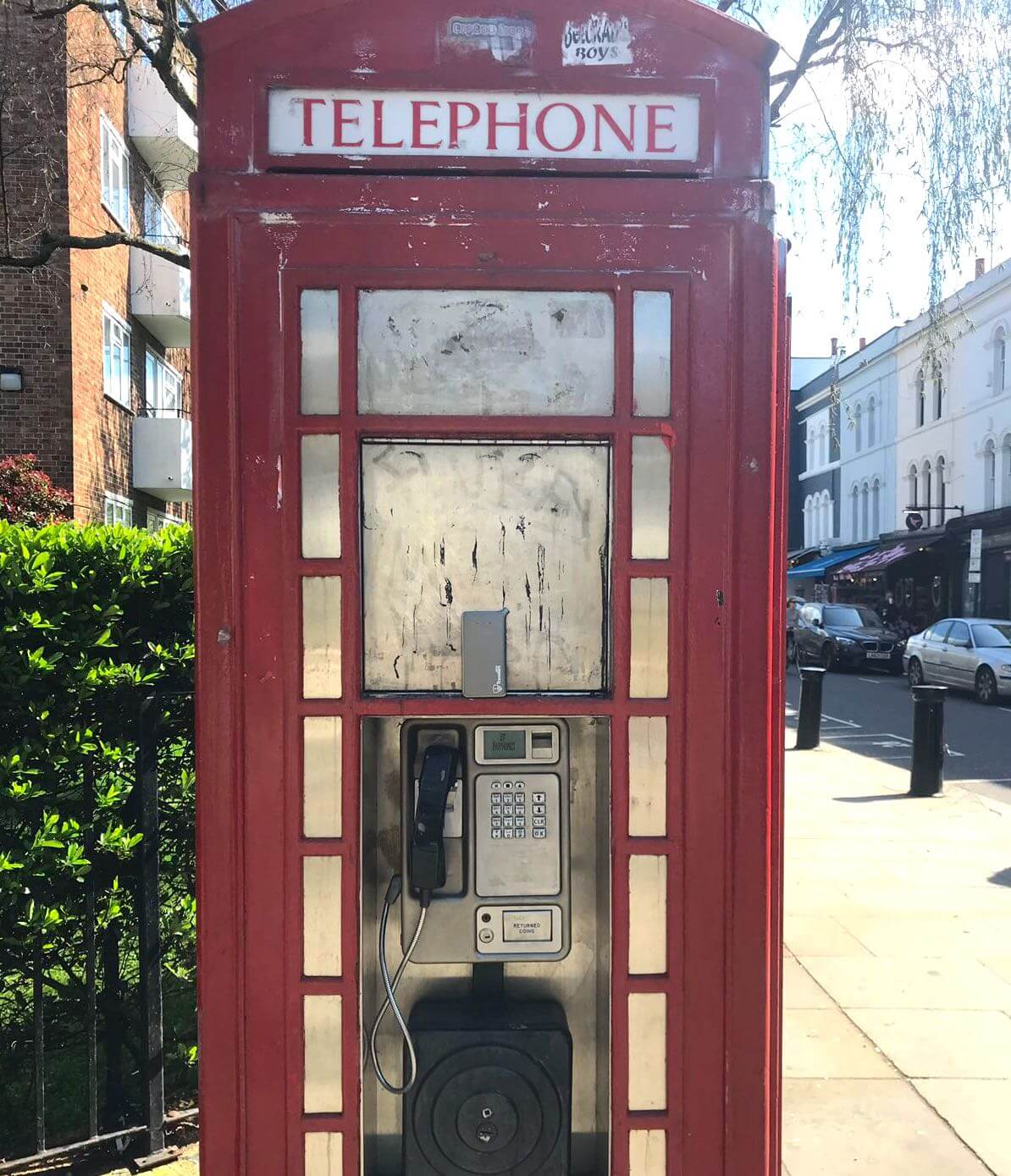 Pocket Wifi router and a London public phone for free wifi in London